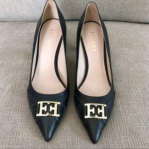 Escada Dark Navy Heels Pumps Size 39